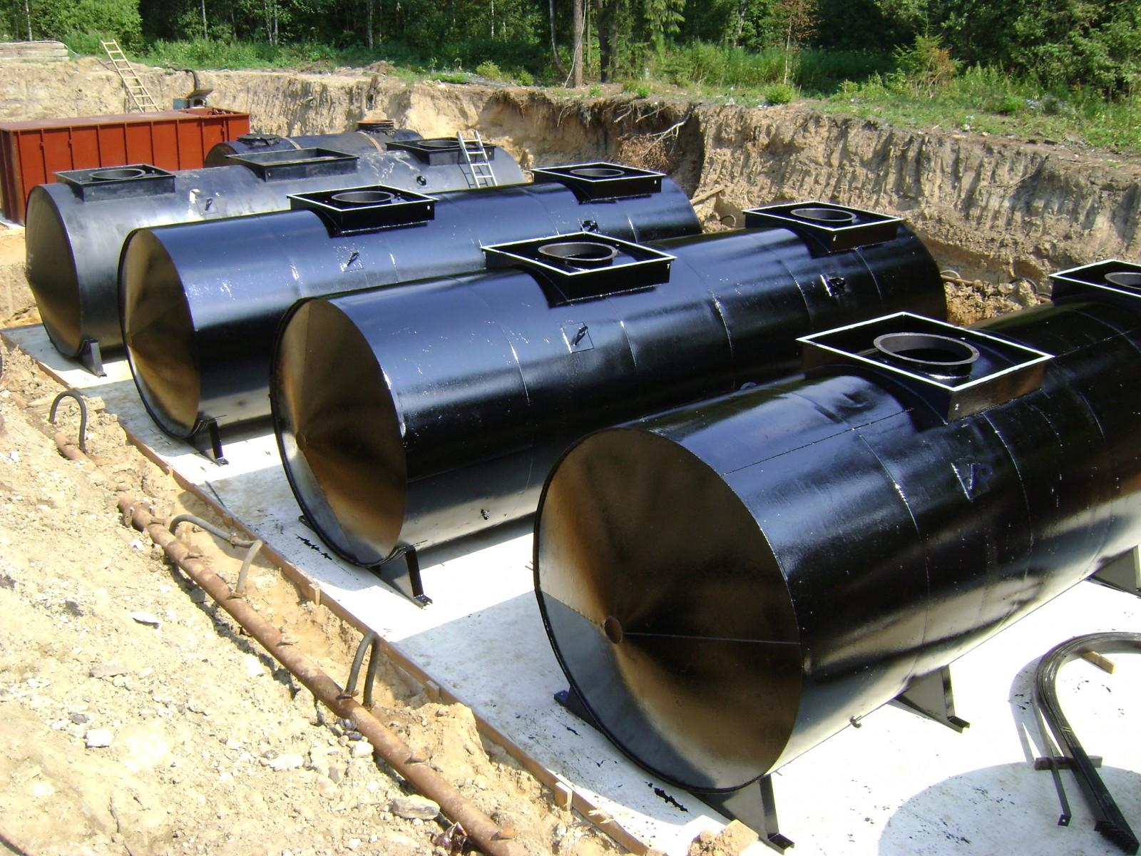 Установка подземного топливного резервуара