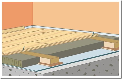 Укладка массивной доски на бетонное перекрытие