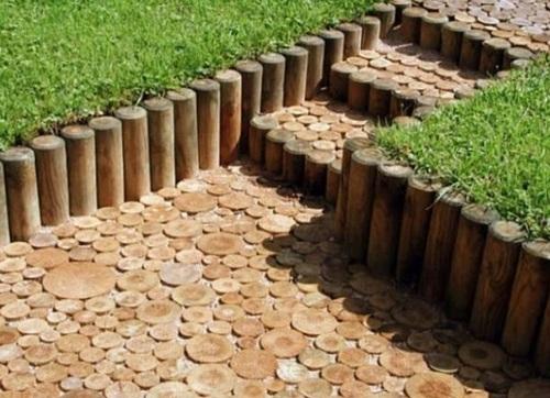 садовые дорожки из дерева фото