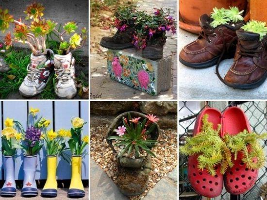 цветочные клумбы в старой обуви