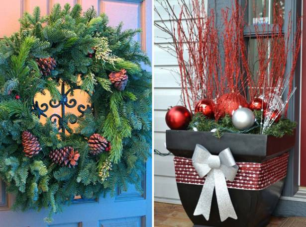 Дверь дома украсьте новогодним венком