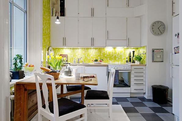 Многоуровневое освещение на маленькой кухне
