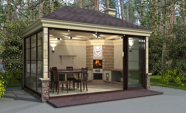 Летняякухня барбекю электрокамин 60х60х