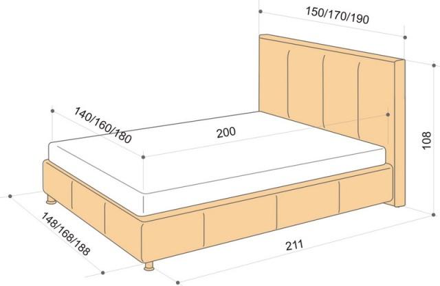 односпальная кровать размеры