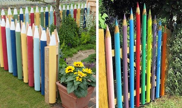 забор из  цветных карандашей
