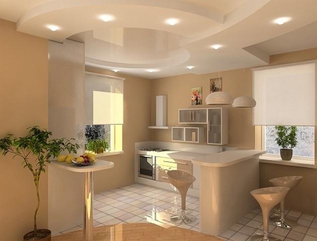 виды потолочных светильников для кухни