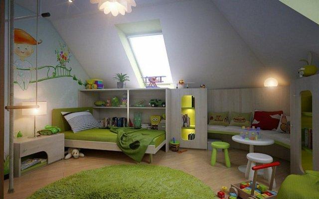 Детская комната на мансарде дачного дома
