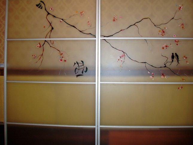витражная роспись на дверях-купе