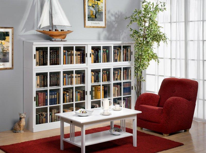 Стеллаж для книг со стеклянными фасадами