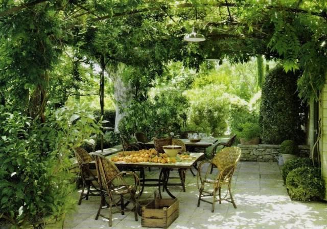 Патио с зеленой крышей