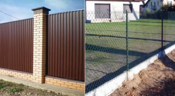 Забор из профнастила и сетки рабицы