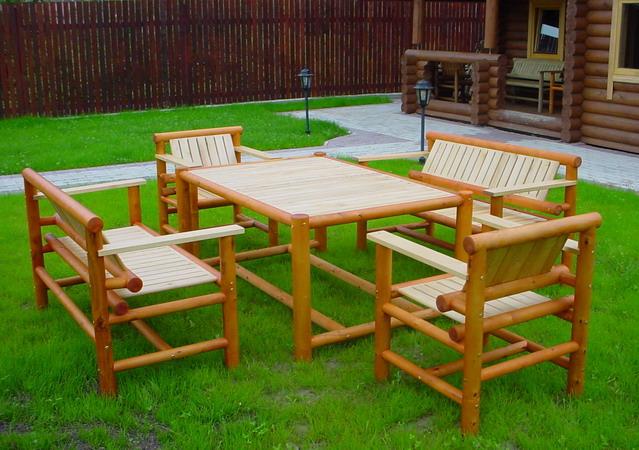 Деревянная дачная мебель фото