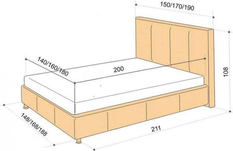 Ширина кровати двуспальной размер