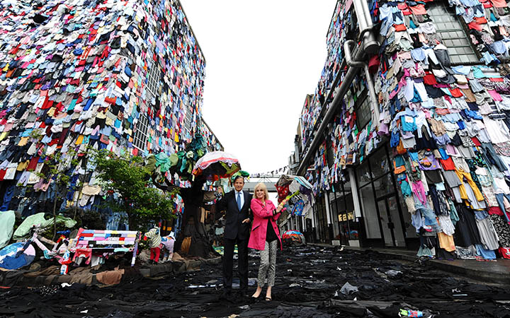 Thursday April 26 2012 Joanna Lumley OBE and Marc Bolland (M&S CEO) at the launch of 'shwopping'. Using 5 minutes worth of UK clothing waste - 9513 pieces - M&S transformed a London street to show how it plans to give old clothes a future through its new fashion initiative.