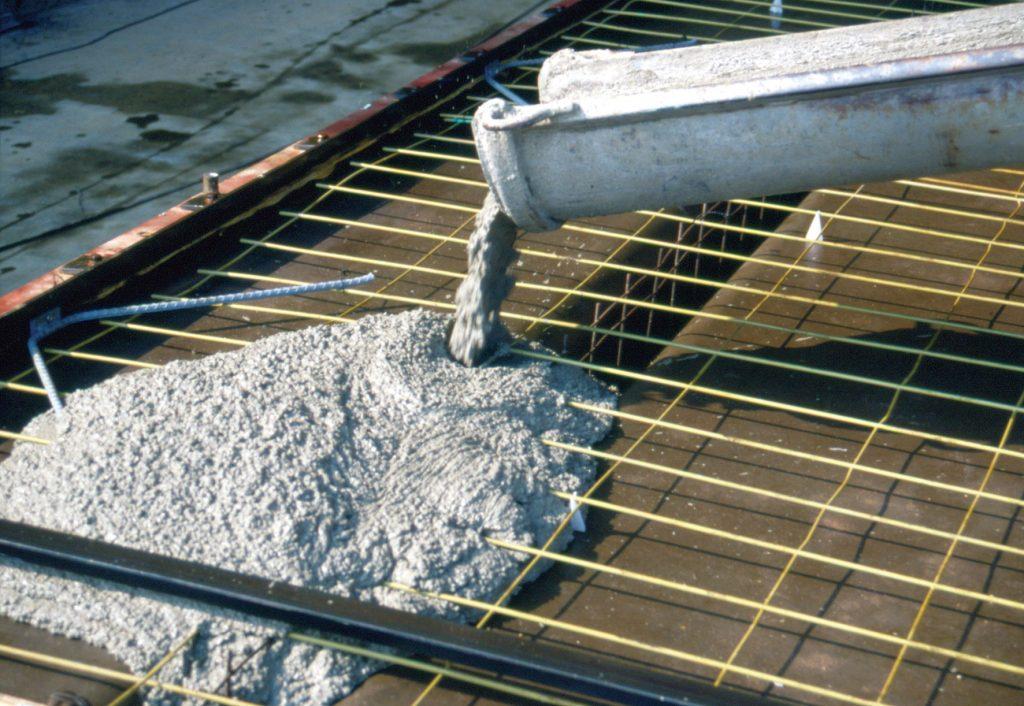 ready mix, concrete pour, floor, slab, rebar