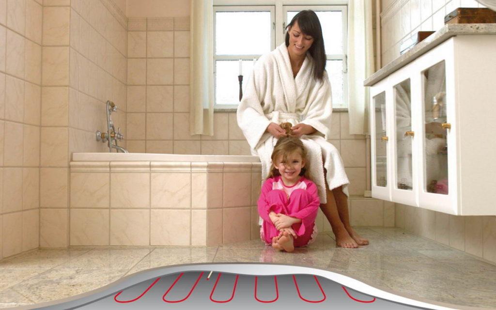 Уют в ванной комнате: теплый пол и мебель