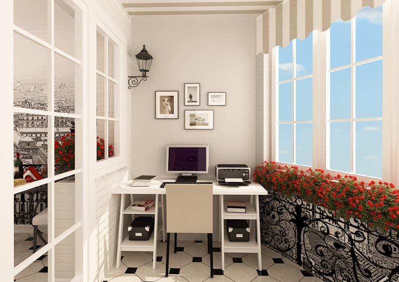 Уютный кабинет на балконе