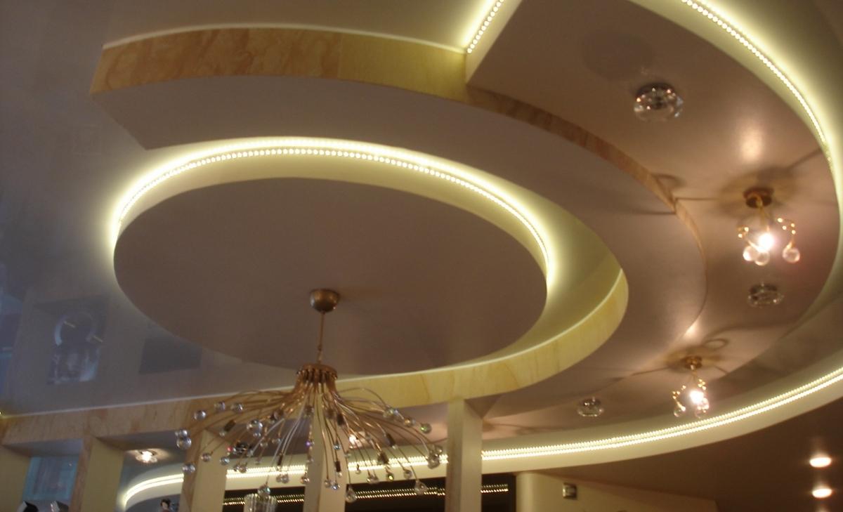 Дизайн потолков из гипсокартона двухуровневый