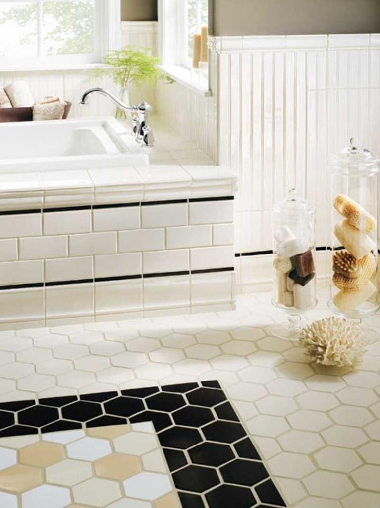 Черная плитка для пола в ванной