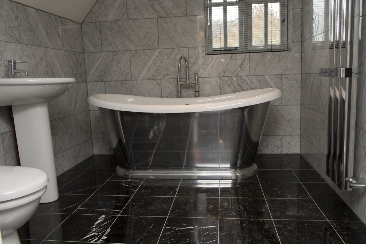 Black tile bathroom floor