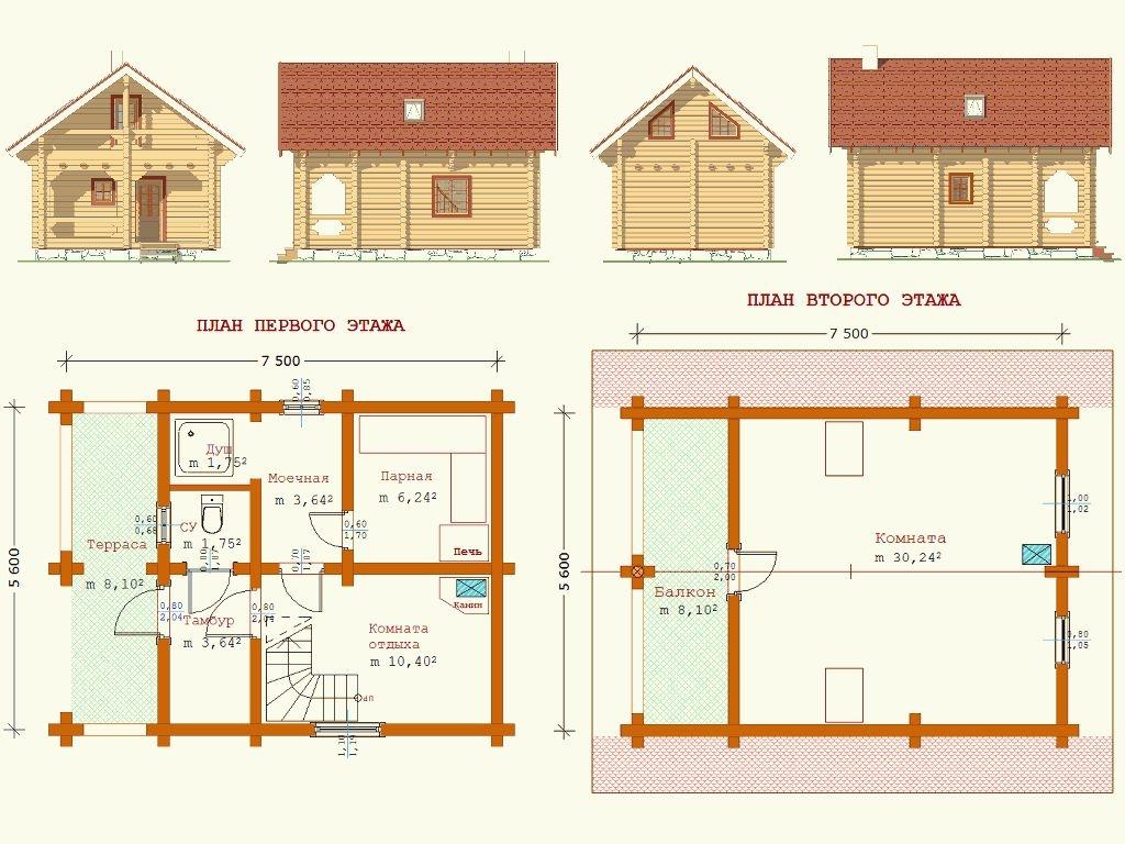 Баня и гостевой дом - проект
